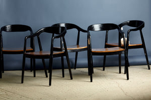 Set of 10 Mid Century Teak Arm Chairs from Jakarta