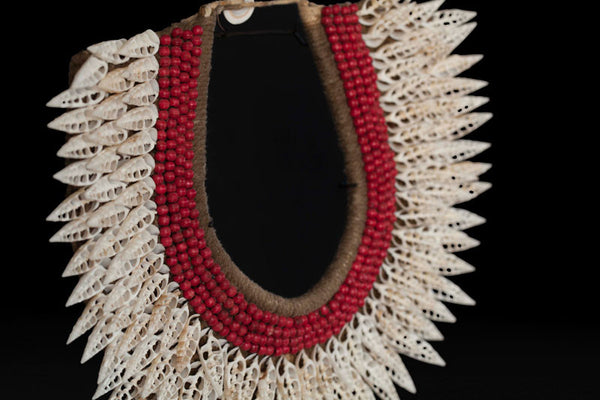 Cut White Shell And Red Bead Necklace
