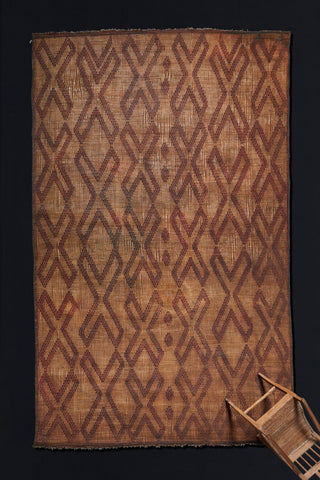 "Large Tuareg Leather and Reed Carpet with ""X"" Pattern .............. (10' x 14' 6'')"