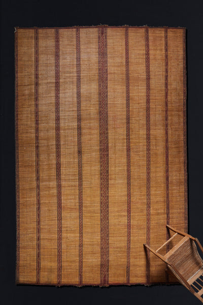 Leather and Reed Tuareg Carpet with Classic Stripe Pattern.............. (9' 3'' x 13' 1'')