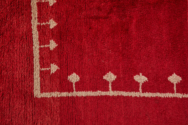 Turkish Red Ground Carpet with Central Cream Arrow Border (4'11'' x 9'6'')