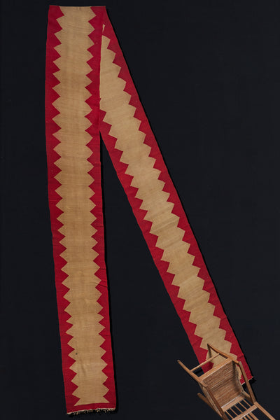 Anatolian Turkish Runner with Red Border on Wheat Colored Field (2'1'' x 14'6'')