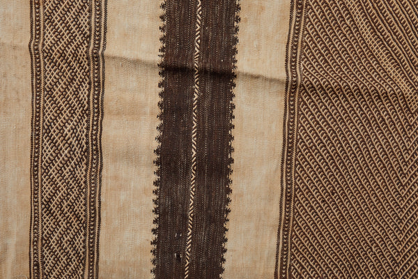 High Atlas Natural Brown and Cream Carpet with Brocade Weave Center  (4'10'' x 9'4'')