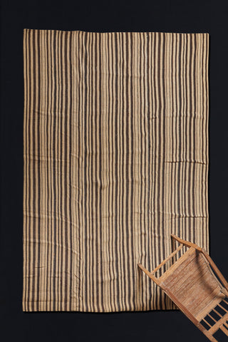 Natural Stripe Brown and Cream Goat Hair and Hemp Anatolian Striped Carpet  (6'6'' x 9'2'')