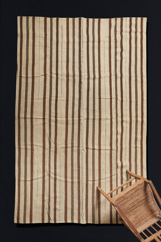 Goat Hair and Hemp Natural Brown and Cream Stripe Anatolian Carpet (6'4'' x 9'6')