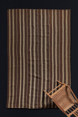 Anatolian Goat Hair and Wool  Brown and Cream Striped Carpet  (6'4'' x 9'2.5'')