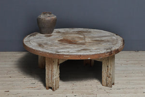 Weathered Teak Coffee Table Made from a Solid Wheel with Iron Band