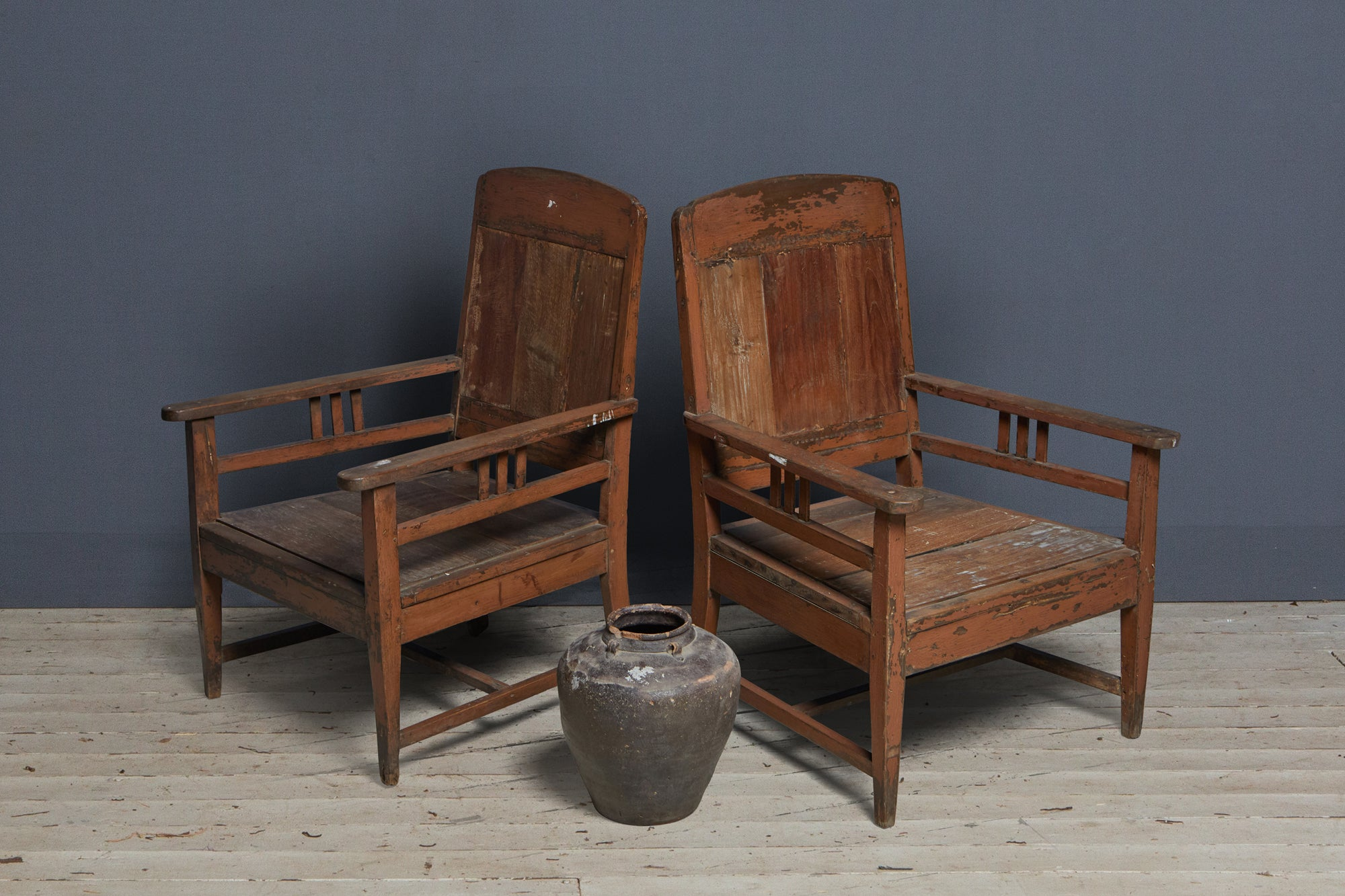 Pair of 1930's Teak Dutch Colonial Teak Lounge Chairs from Jakarta
