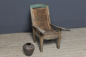 19th Century Teak Colonial Arm Chair with Woven Bamboo Back from Sumatra