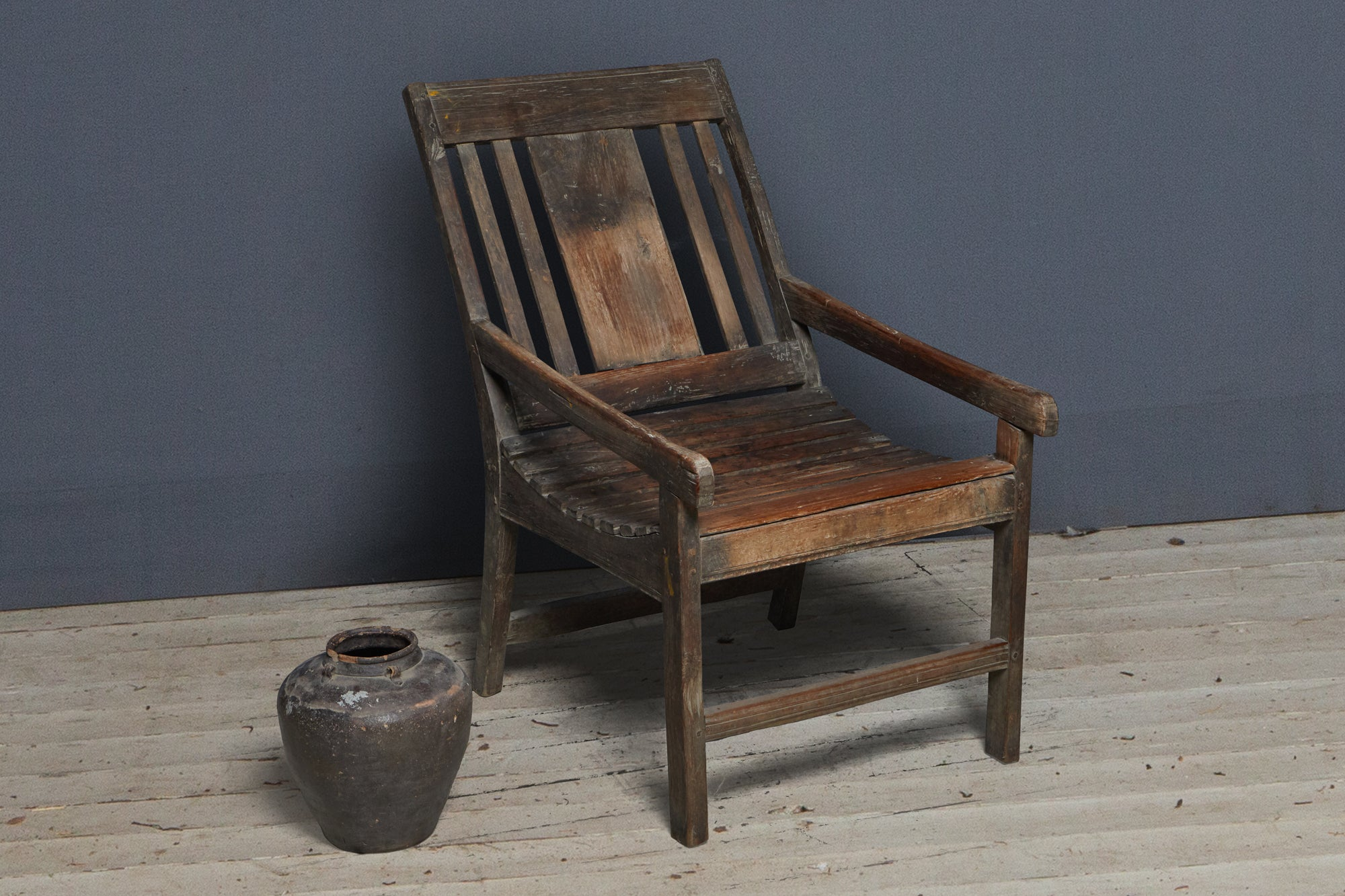 Large Dutch Colonial Teak Relaxing Chair with Slatted Seat
