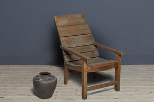 Dutch Colonial Teak Slat Back Arm Chair from Jakarta