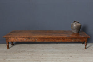 Long Teak Dutch Colonial Coffee Table with Turned Legs