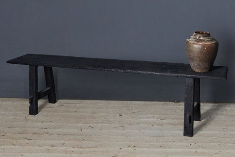 Ebonized Teak Flat Bench From Borneo