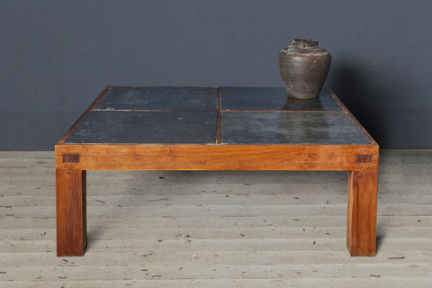 Teak and 18th Century Belgium Bluestone Coffee Table