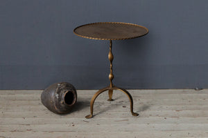 Spanish Gilt Iron Side Table with Twisted Rim
