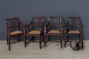 Set of 4 Dutch Colonial Chain Back, Teak & Rattan Arm Chairs