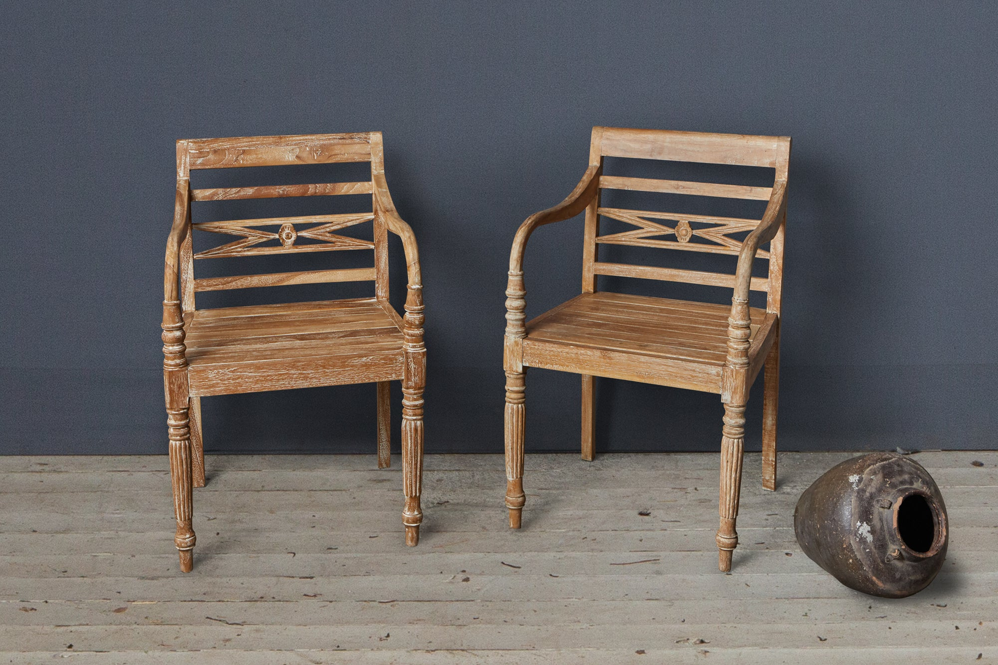 Pair of Larger Teak Raffles Chairs with Traces of White Paint