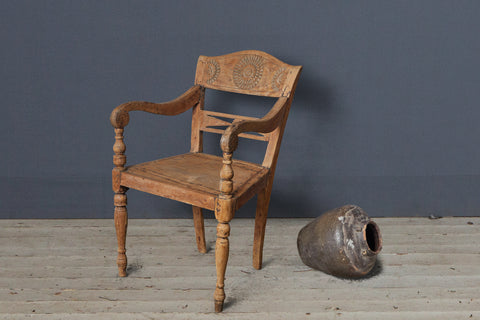 Single Teak Raffles Chair with Carved Flower Design
