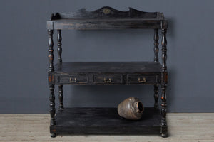 Tall Ebonized Dutch Colonial Teak Server from Java