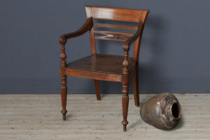 Classic Style Teak Raffles Chair with Reeded Legs and Teak Seat