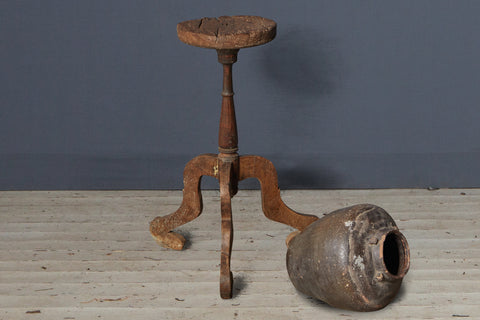 Small Primitive Teak Stand with Repair to Leg