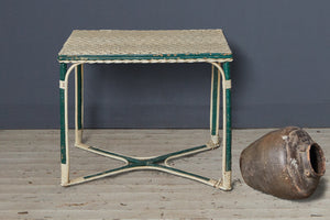 Small Cream and Green Wicker Table from Biartitz