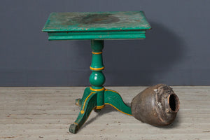 19th Century Dutch Colonial Teak Side Table with Brilliant Green Paint