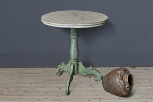 White and Green Painted Small Teak Table
