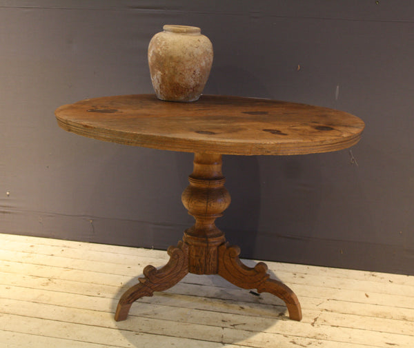 Large Round Teak Table with 2 Board Top and Reeded Edge