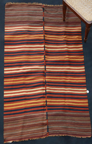 Very Fine Weave Bed Cover In Blue, Cream, Yellow And Red Stripe