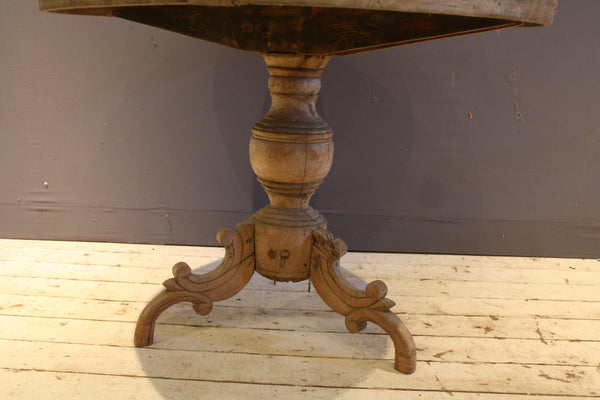 Round Weathered Teak Table with Thick Top and Turned Base