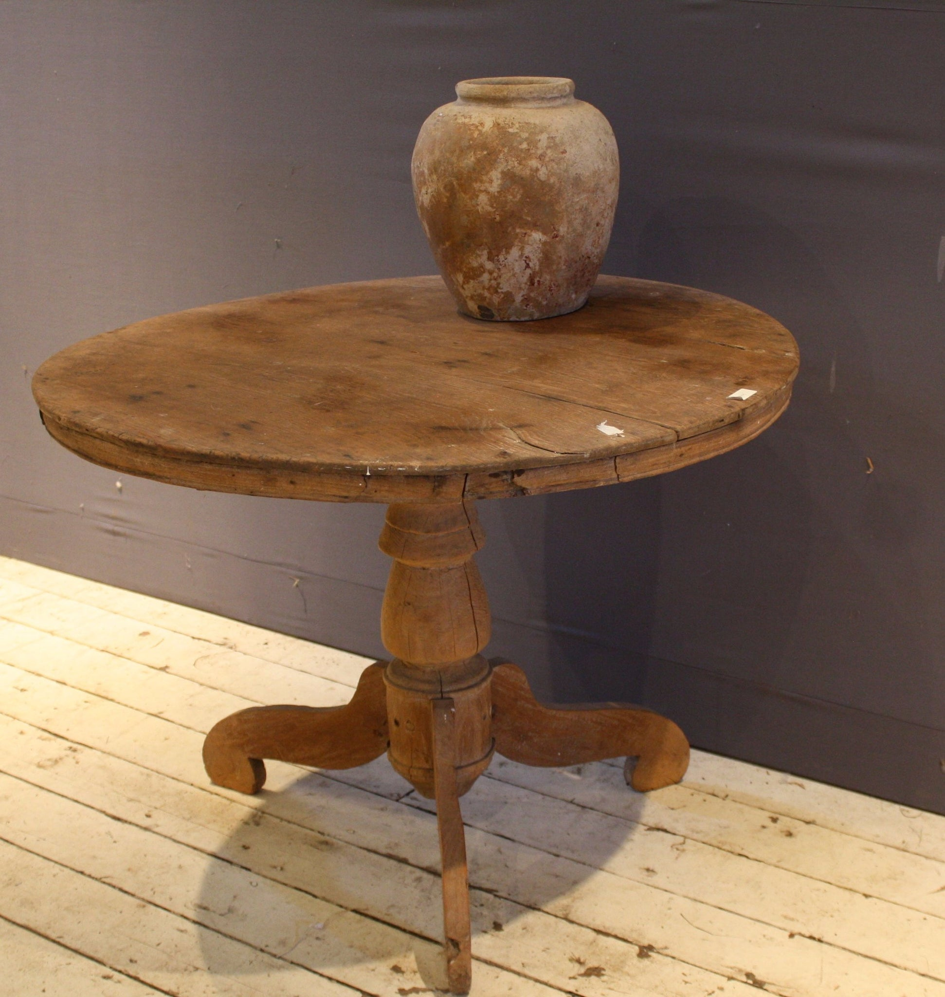 Small Colonial Round 1 Board Top Teak Table from Jakarta