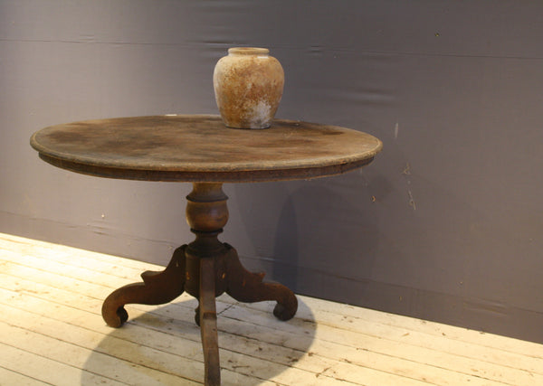 Round Dutch Colonial Teak Table with 2 Board Top and Scrolled Feet