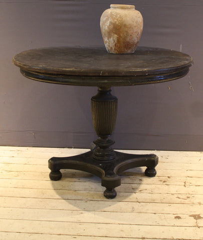 Ebonized Round Table with 1 Board Ulin Wood Top and Teak Base