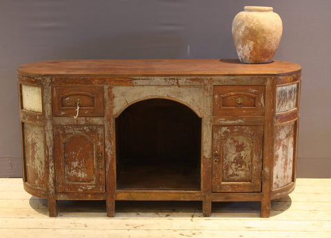 Early 20th Century Dutch Oval Teak Vanity Buffet
