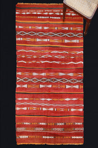 Moroccan Carpet With Red Bands And Orange And White Design