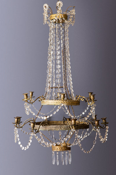 Mid 19th Century French 2 Tiered Gilt Brass & Crystal Chandelier