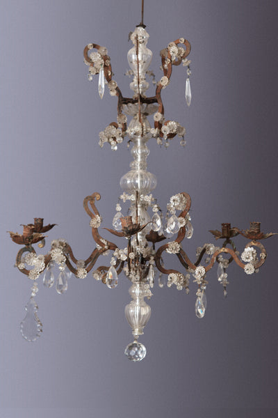 Early Iron & Crystal French Chandelier