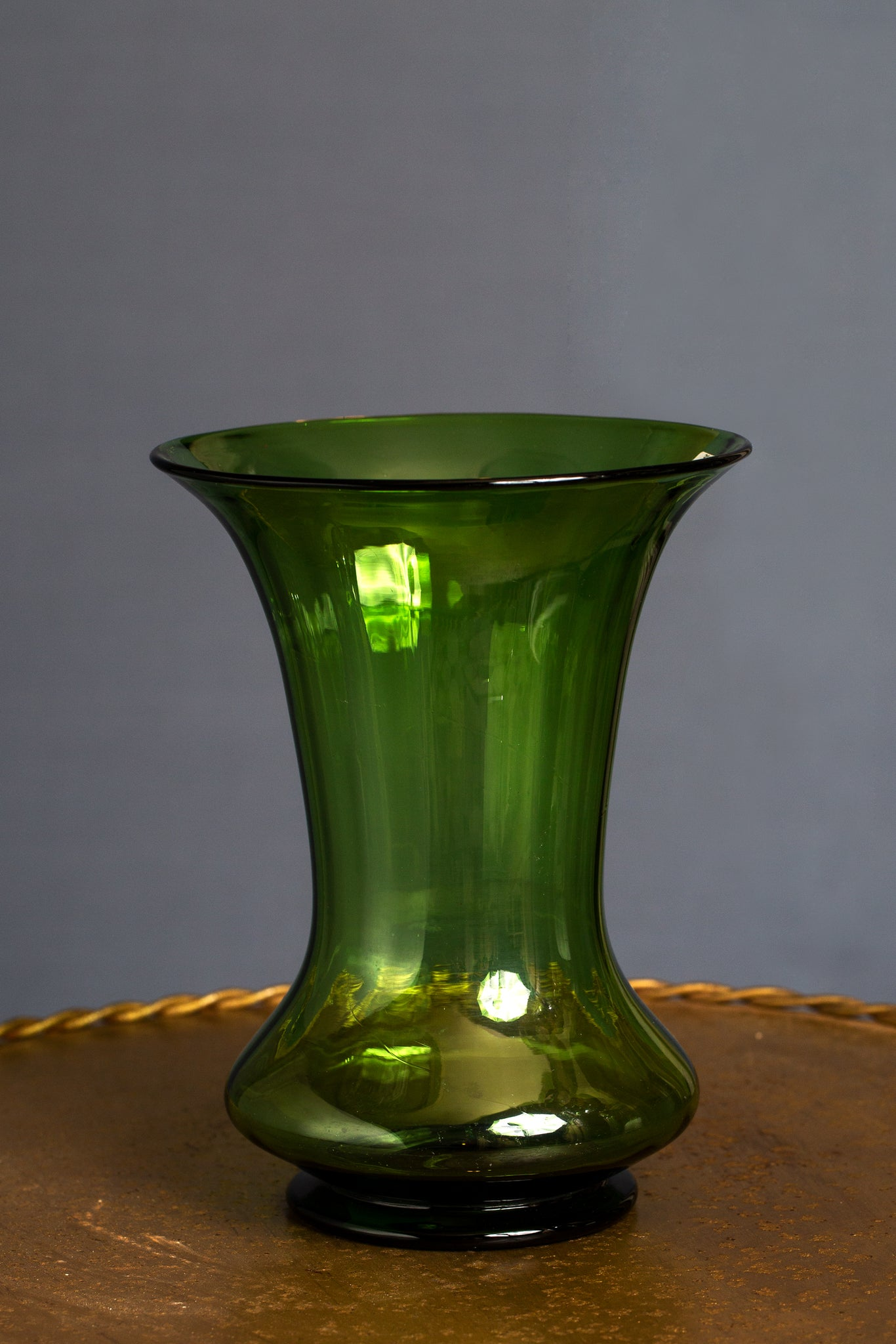 French Blown Green Glass Vase