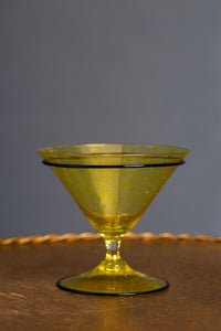 Yellow Venetian Compote with Cobalt Trim
