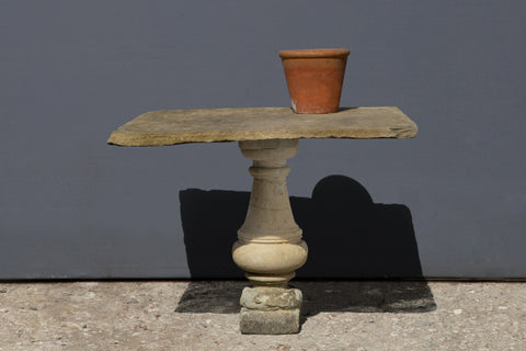 18th Century North Italian Limestone Table with Baluster Leg from Lucca
