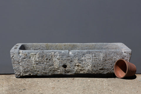 18th Century Chinese Carved Stone Trough from a Single Block of Stone