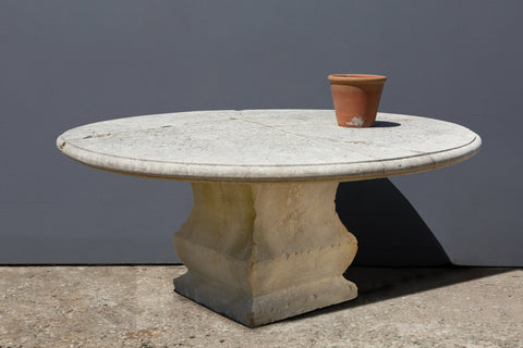 Large French Limestone Table with 4 Piece Top (some repair)