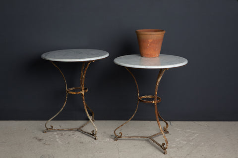 Small French Bistro Table with Replaced White Marble Top