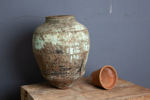 19th Cent. Turkish Terra Cotta Jar with Blue/Green Patina