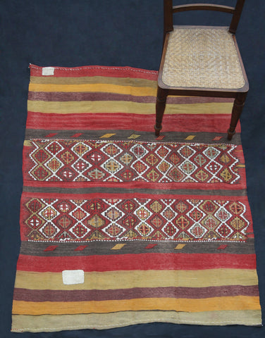 Open Bag As Carpet With Red, Yellow, Green And Brown Stripes