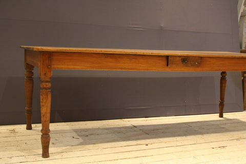 Long Rectangular Teak Dining Table with Drawer