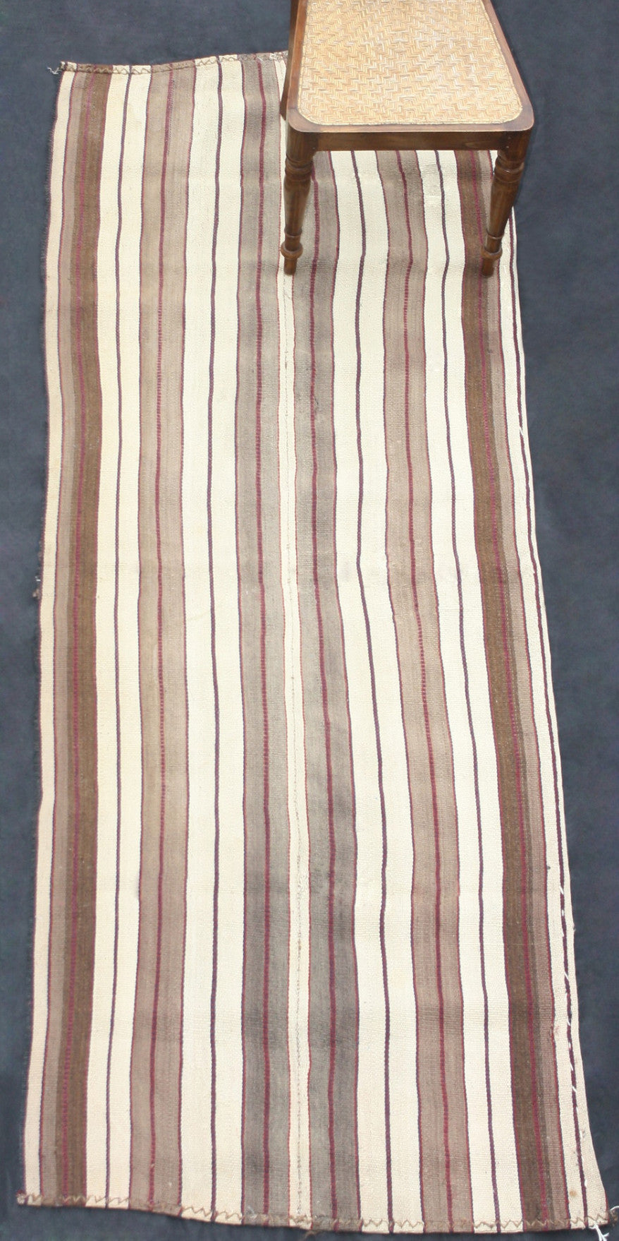 "Acik Heybe In Brown And Cream With Grey Stripes (3' 1"" x 8' 6"")"