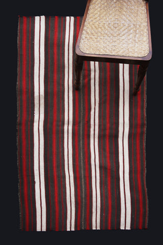 Acik Heybe With Grey, Red And White Stripes
