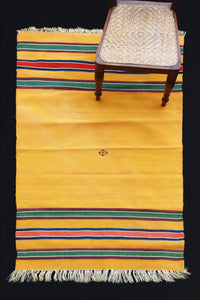 Yellow Kilim Carpet With Green And Red Bands (3' 3'' x 5' 10'')